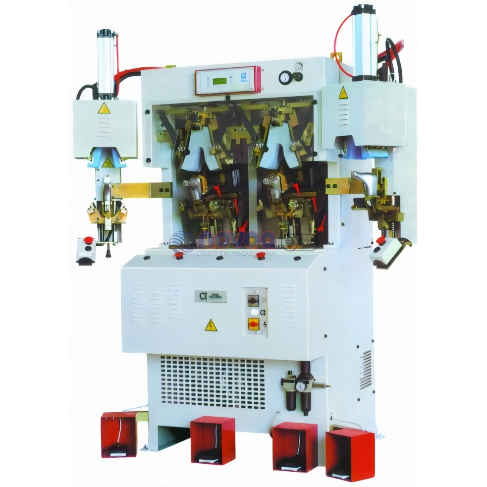 Alfa Meccanica Brustia Mod. 684 IC2HP. Máquina de conformar talón, 2 estaciones frío, 2 calor.