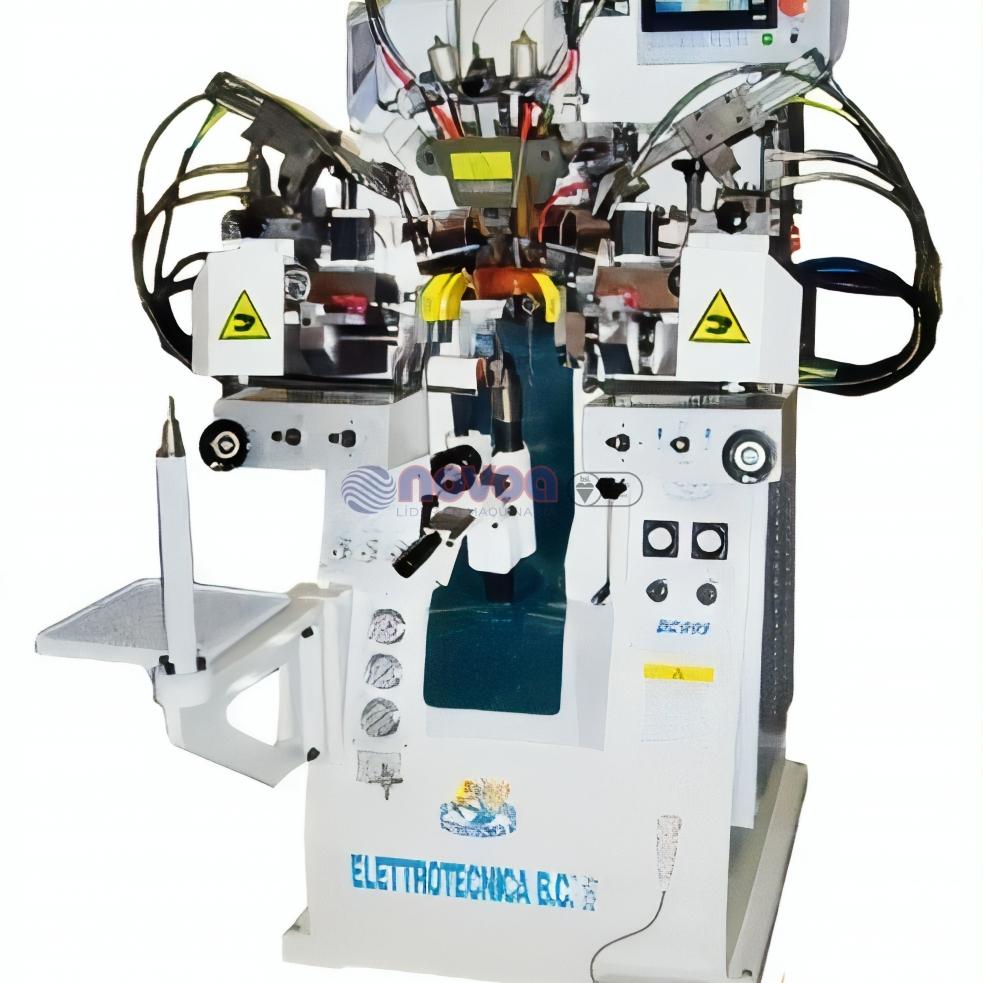 Elettrotecnica BC MOD. 999 RC. Máquina de montar talones y lados con rodillos, con termoplástico, programada.