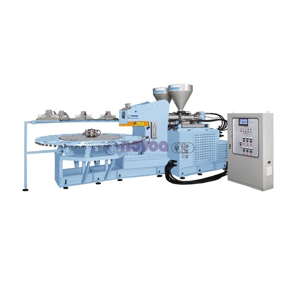 Tienkang TK-980C-2C. Máquina rotativa automática de moldeo por inyección directa de calzado full plastic bicolor.