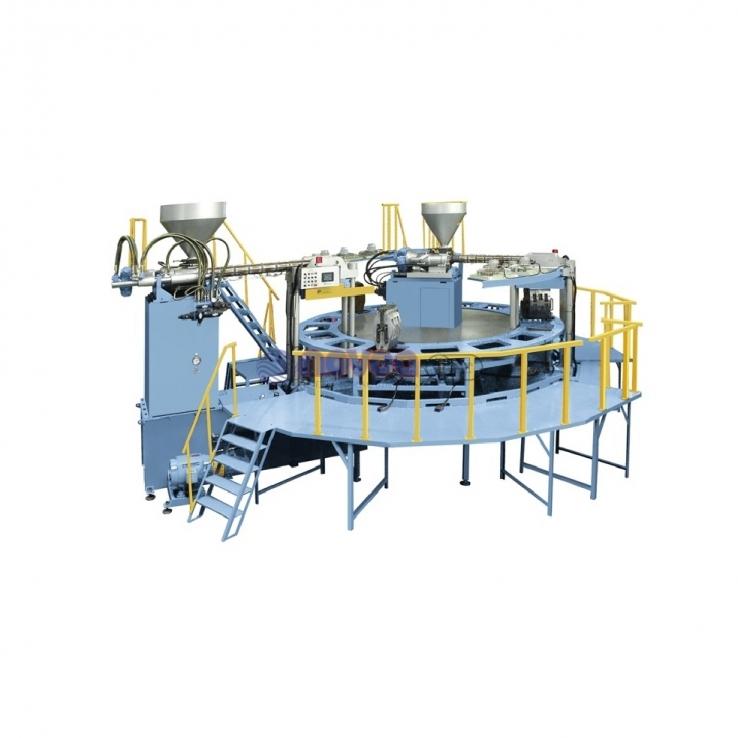 Tienkang TK-738 Series. Máquina rotativa automática de moldeo por inyección directa de bota monocolor y bicolor.